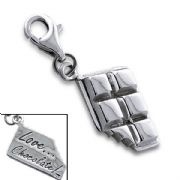 Chocolate Bar Sterling Silver Clip On Charm - With Clasp